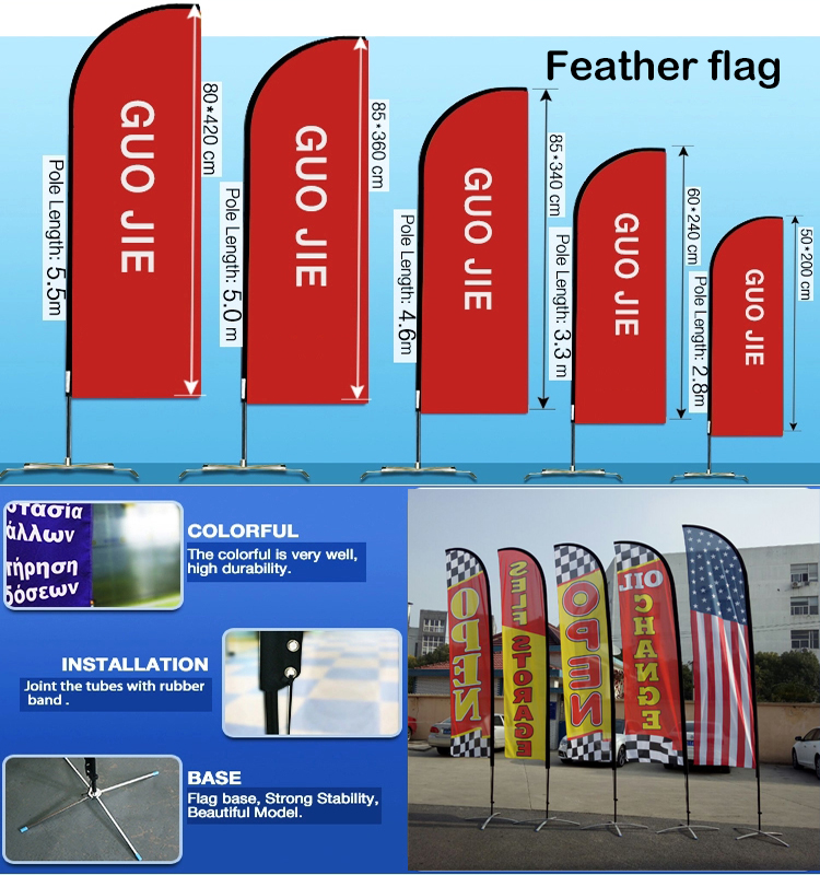 Portable flying promotion sports Advertising 110g knitted polyester printed beach teardrop flag
