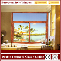 European Villa Home Screen Double Tempered Glass Aluminum Sliding Windows