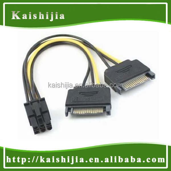 Dual 15-pin Sata Male To 6pin Pci-e Female Vga Video Card Power ...