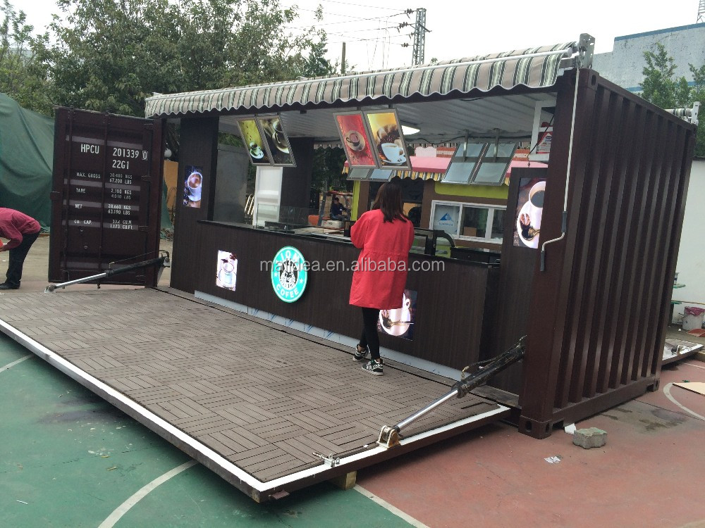 Hydralic opening outdoor shipping container coffee shop for Container en