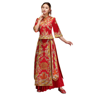 2018 New OEM China Wholesale Bridal Luxury Red Embroidery Traditional Wedding Dress Cheongsam Qipao