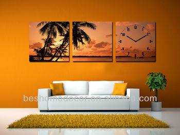 Orologi Da Parete In Tela : Palma di cocco moda decorazione della parete handmade paesaggio