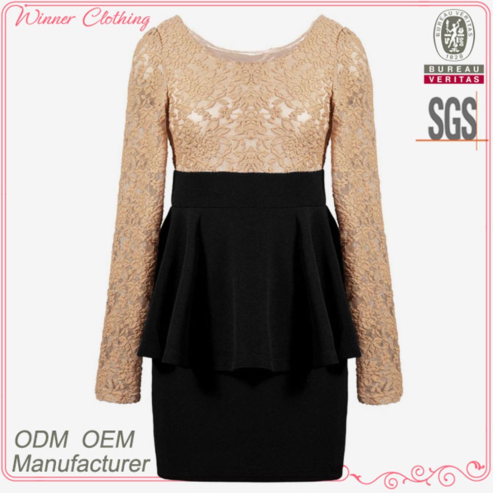 Ladies' fashion with lace at upper part ruffle skirt boat neck dress garment factories in china