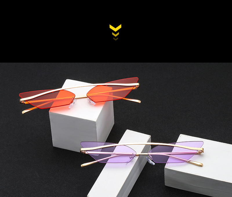 New Rimless Cat Eye Sunglasses Trend Personality Square Small Frame Modis Gozluk