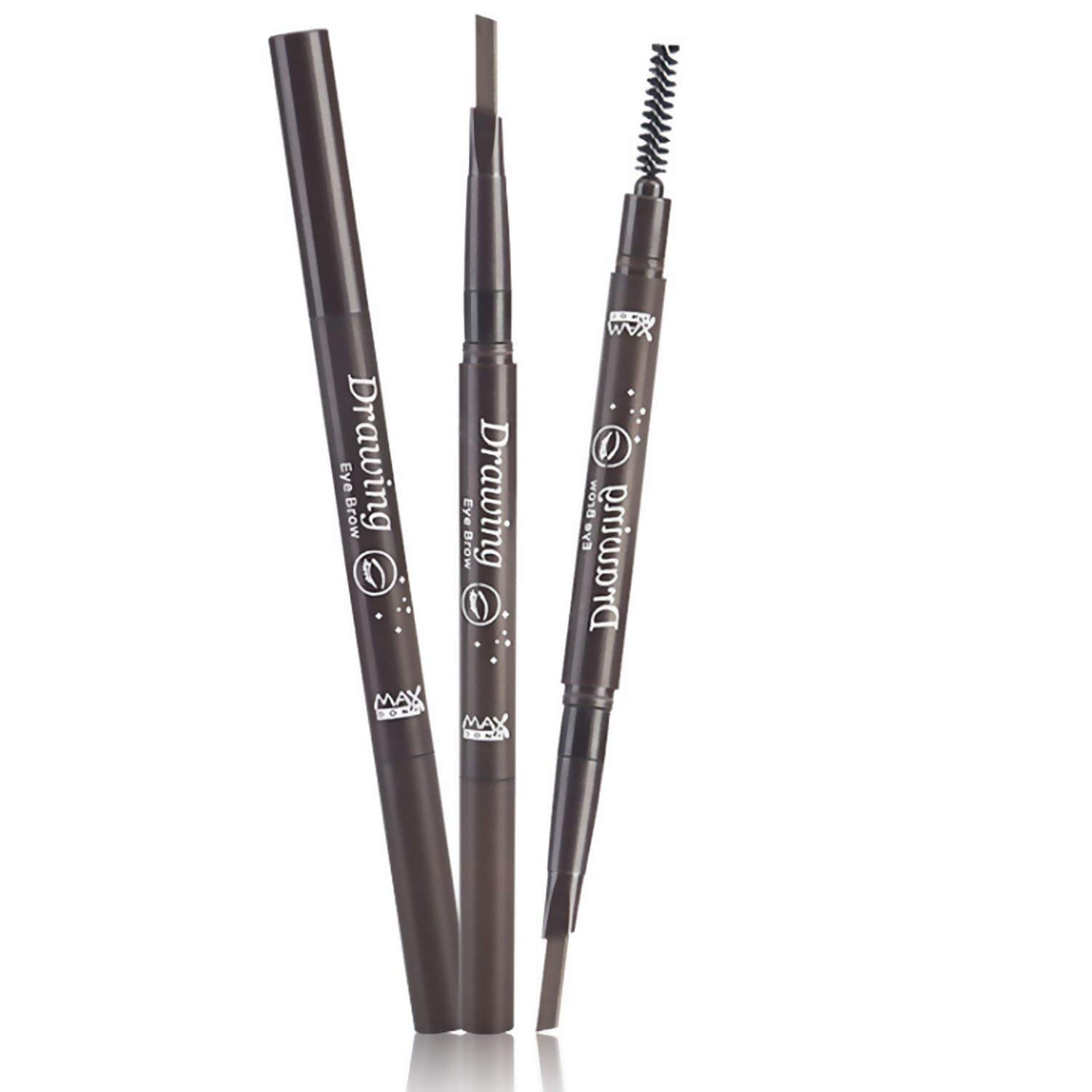 Eyebrow Pencil in Diamond-shape, Waterproof and longlasting, Retractable and Automatic body, Double-ends With Eyebrow Brush(Comb), 5 Colors: Black, Brown, Light Brown, Dark Brown, Grey