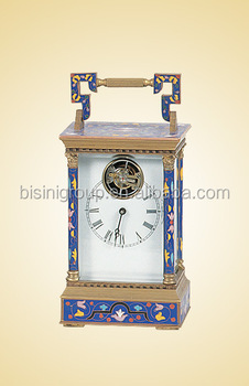 Chinese Cloisonne Style Carriage Clocks, Old Fashioned Home Decor  Mechanical Alarm Table Clock