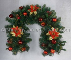 PVC Christmas garland with ball ornament , Xmas decoration
