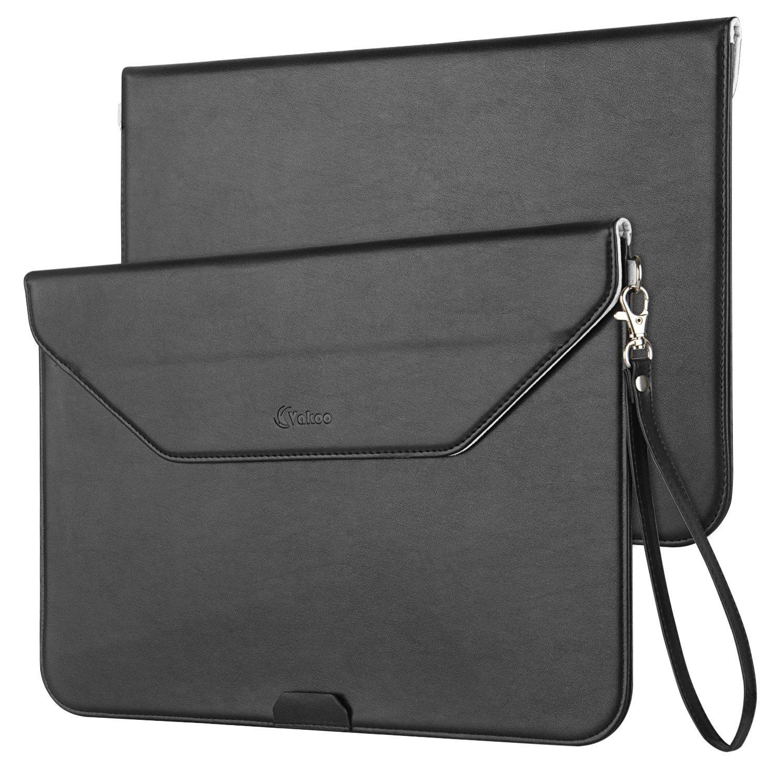Macbook Air 13 Sleeve, Vakoo Envelope Style Ultrathin Protective Portable Waterproof PU Leather MacBook Air Laptop Bag Sleeve Case with Carrying Strap for Apple MacBook Air 13.3-Inch, Black