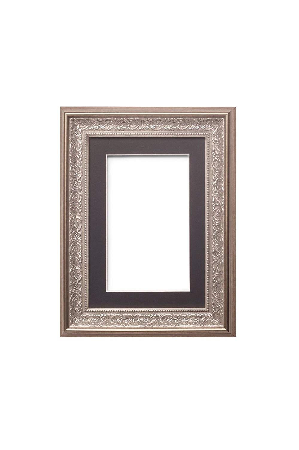 """Paintings Frames Opera Wide Ornate Antique Swept Photo Frame Picture Frame Poster Frame With An MDF Backing Board Silver Frame With Black Mount 6"""" X4 For 4""""X3""""Pictures"""