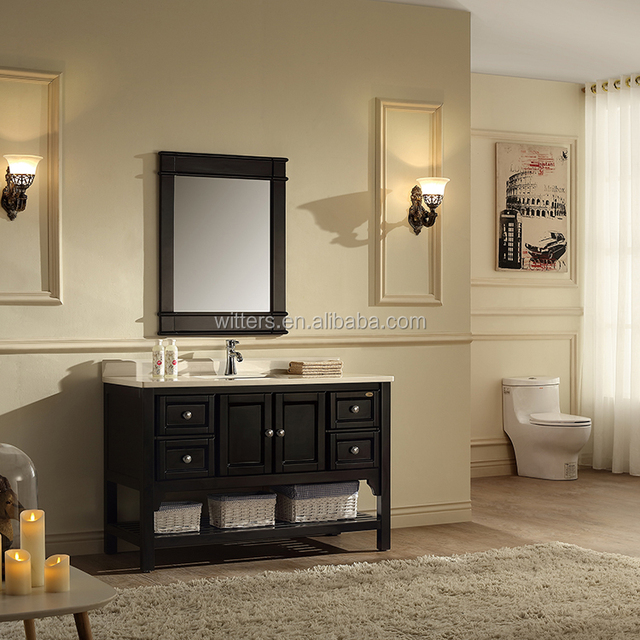 WTS16344 Victoria 49 Inch Modern Single Sink Bathroom Vanity Pure black with shelf drawers