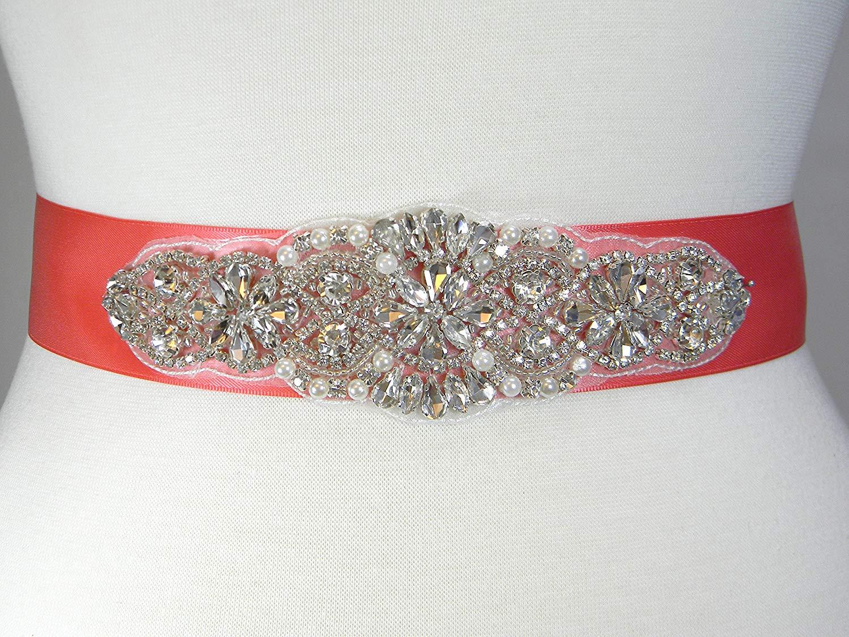 Wedding Belt, Coral Satin Bridal Belt, Bridal Sash, Bridesmaid Belt, Flower Girl Dress Sash, Pearl and Crystal Rhinestone Wedding Sash Belt, ALEXA
