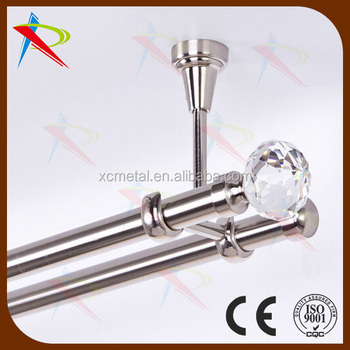 Mount Ceiling Double Curtain Rod With Crystal Finials Accessories