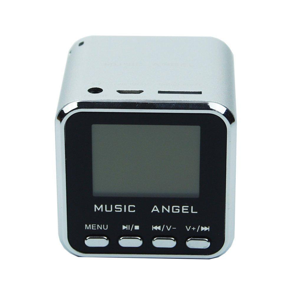 Original Music Angel Portable Mini Digital Speaker LCD Screen with FM Radio/Micro SD/TF Card /USB Disk/ Alarm Clock Multi-Language Function (Silver)