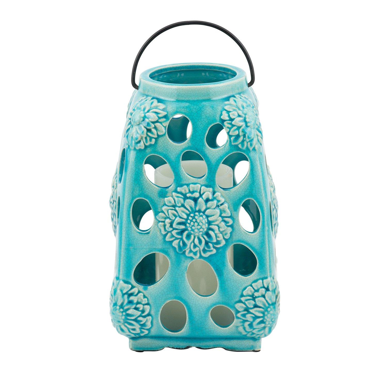 Elements Ceramic Floral Lantern, Teal, 10-Inch