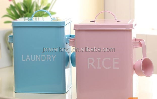 Set of 2 Blue & Pink Household Laundry/Rice Container/Powder Coat Pink Cute Metal Cat/Dog/Bird/Pet Food Storage Box