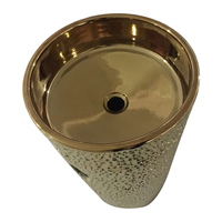 Gold Plated One Piece Stand Ceramic Wash Basin with Stand Sanitary Ware