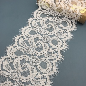 hot sales white lace trimming, white flower lace eyelash trim for dress, high quality elastic stretch lace trim for panties