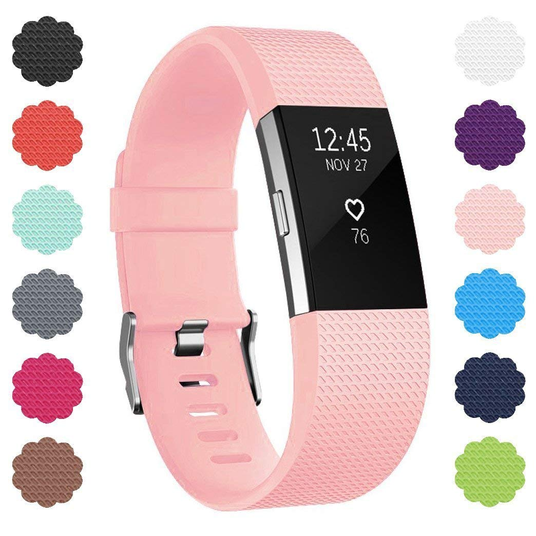 Soulen Bands Compatible with Fitbit Charge 2 Bands, Soft Accessory Replacement Wristband Various with Secure Metal Clasp for Fitbit Charge 2, Large Small