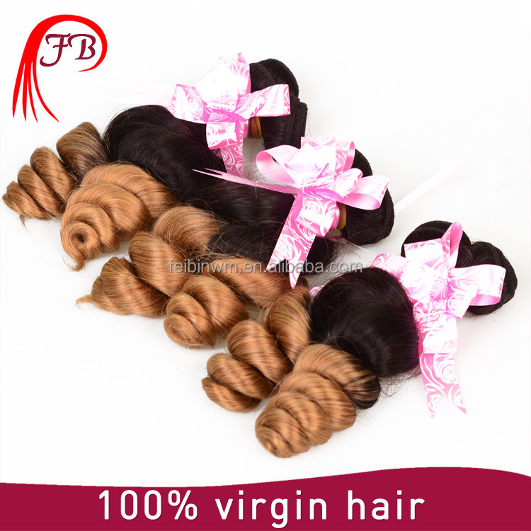 7a ombre color brown human hair loose wave ,real virgin brazilian hair products