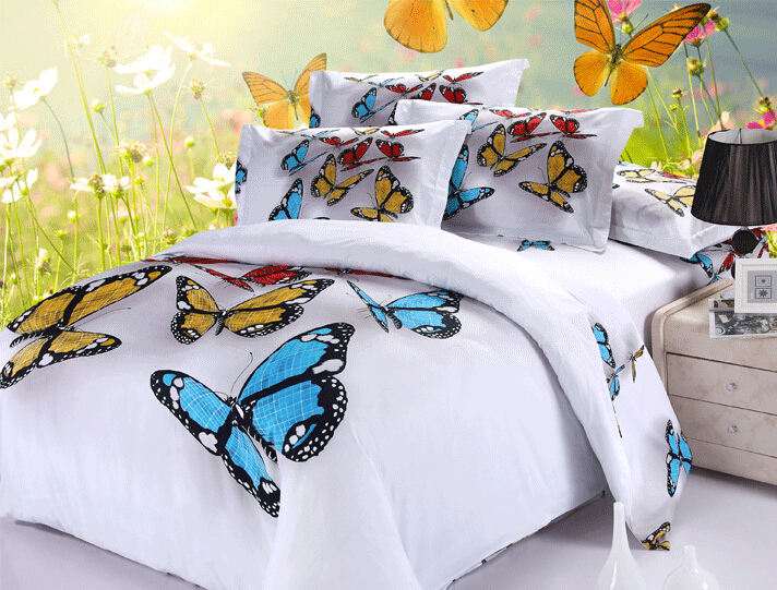 purple full queen king size butterfly 3d oil painting bedding set comforter set or sets. Black Bedroom Furniture Sets. Home Design Ideas