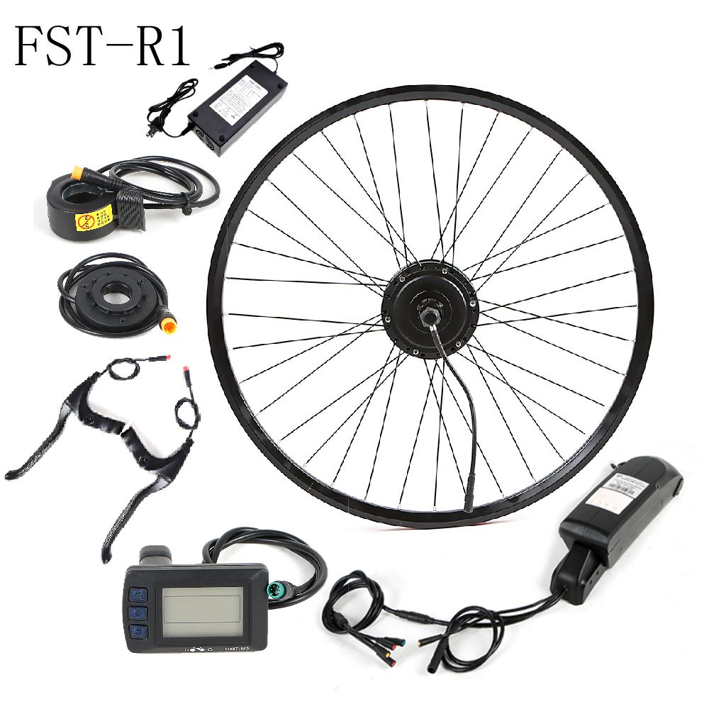 Taiwan Waterproof 36 / 48 Volt lithium ion Battery Electric Bicycle Hub Motor Kit for Electric Bicycle, Black