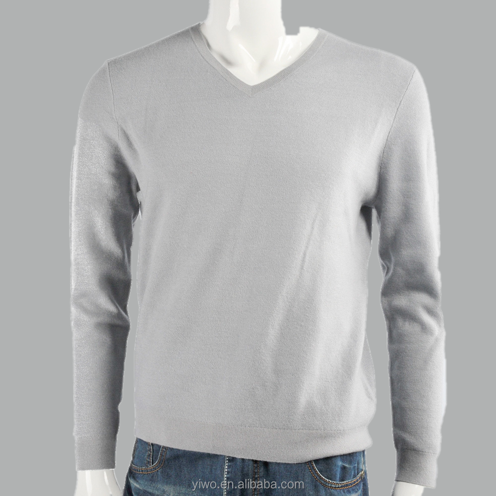 High Quality with good price V neck 18gg Pullover bird's eye 100% cashmere sweater for men