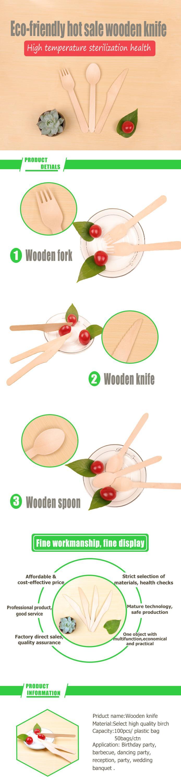Groothandel wegwerp hout mes/houten mes lepel vork
