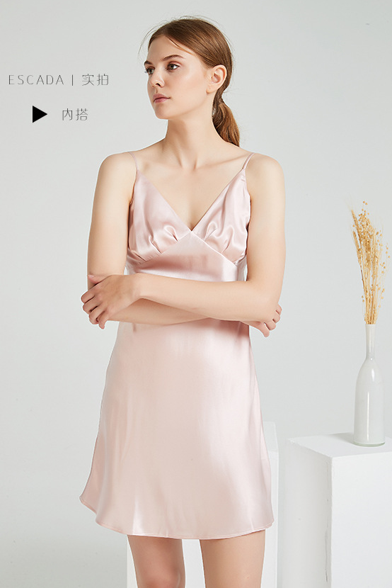 Split home service Silk gown two-piece female long section 100% silk sexy pajamas sling