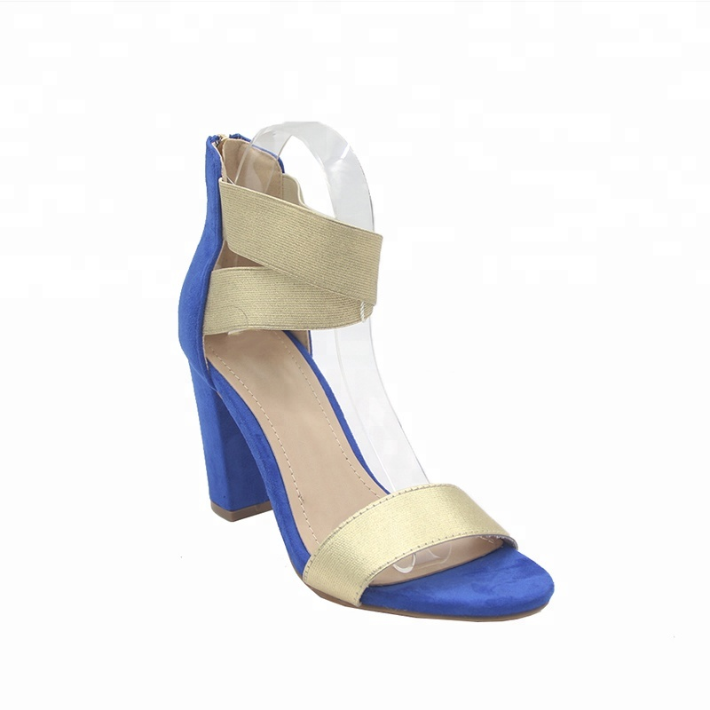 e2840e6c184 Newest Open Toe Gold Rubber Women Elastic Block Heel Sandals - Buy ...