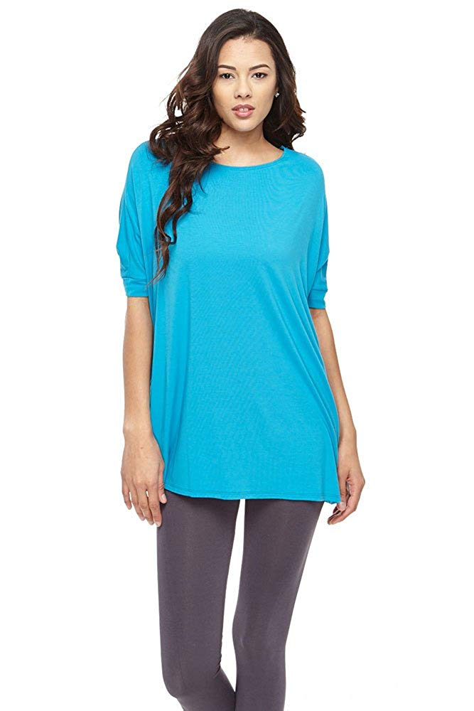 Half/Slv Piko Top Style Soft BAMBOO Loose Fit Long Tunic