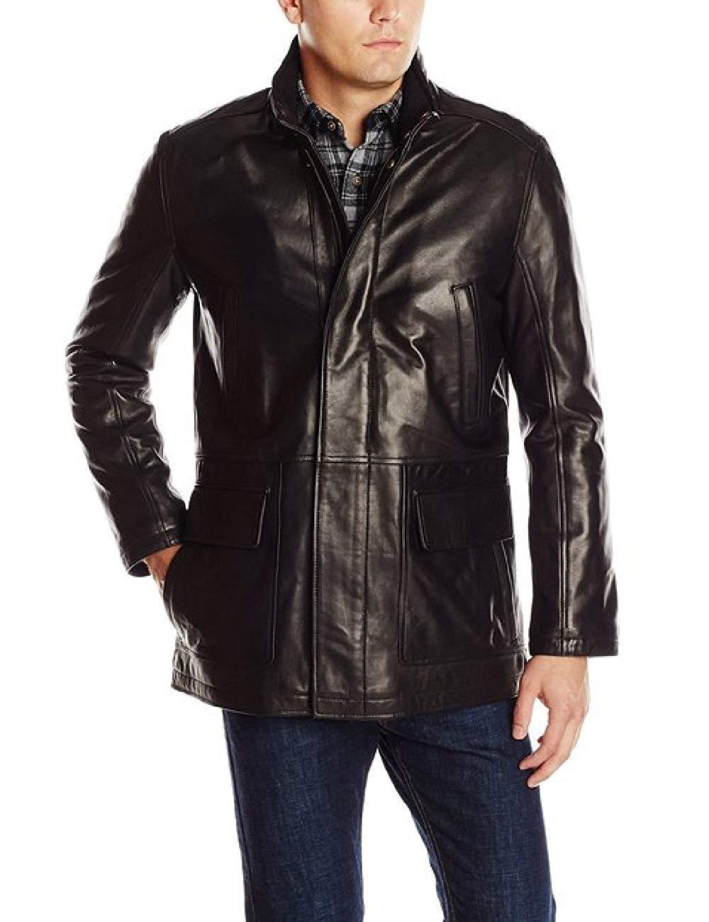 smith-rhyner Men Genuine Premium Leather Western Style Outwear Full Sleeve Blue Jacket
