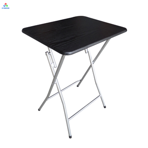 Small marble grain wooden folding TV snack tray table with metal stand