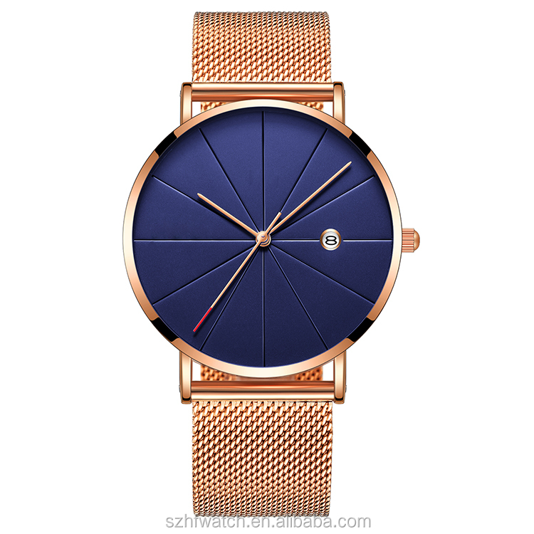 Customized Personalized Gold Color Men Western Wrist Watch With Steel Mesh Strap