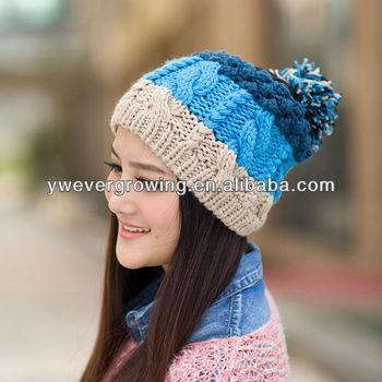 2013 Moda Invierno Sombrero Beanie Cap Pompoms Corea Del Invierno ...