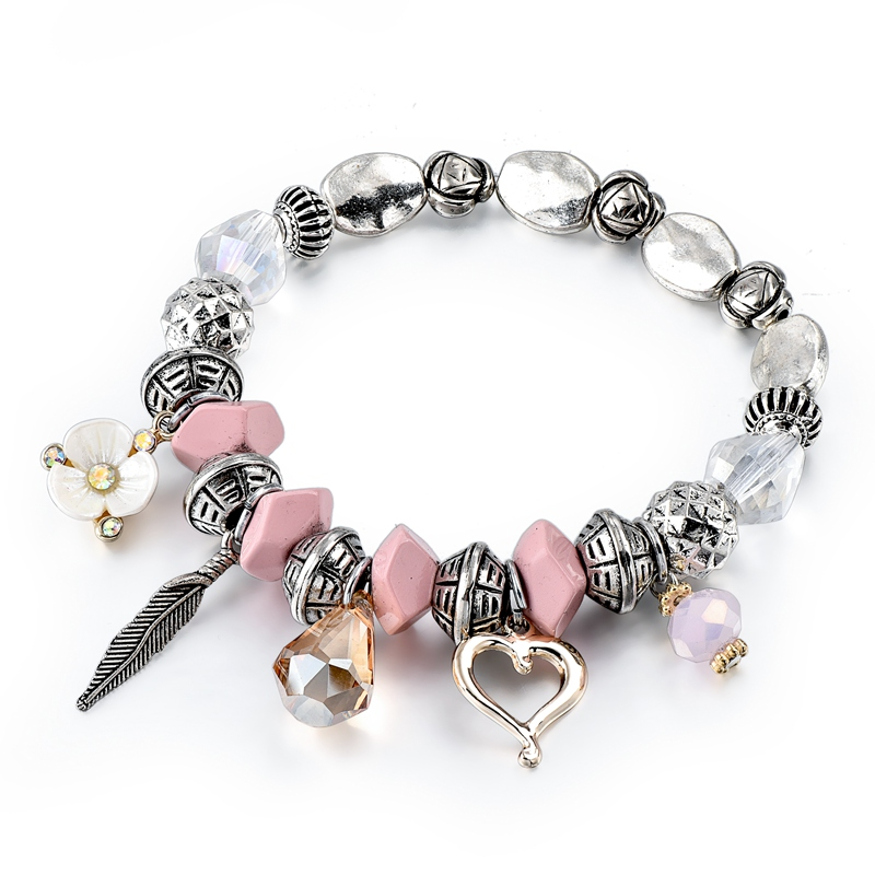New Arrival Charm Gold Beads Beaded Paw Charm Bracelet ,Love Pendant Mum Bracelet Jewelry