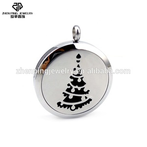 European Style Christmas Tree Essential Oil Diffuser Lockets Fashion Jewelry