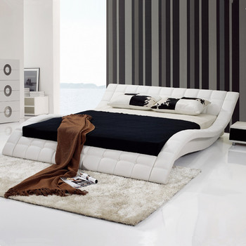 s shape king bed modern leather beds