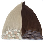 Factory PU Skin Seamless Clip in Human Remy Cuticle Hair Extensions