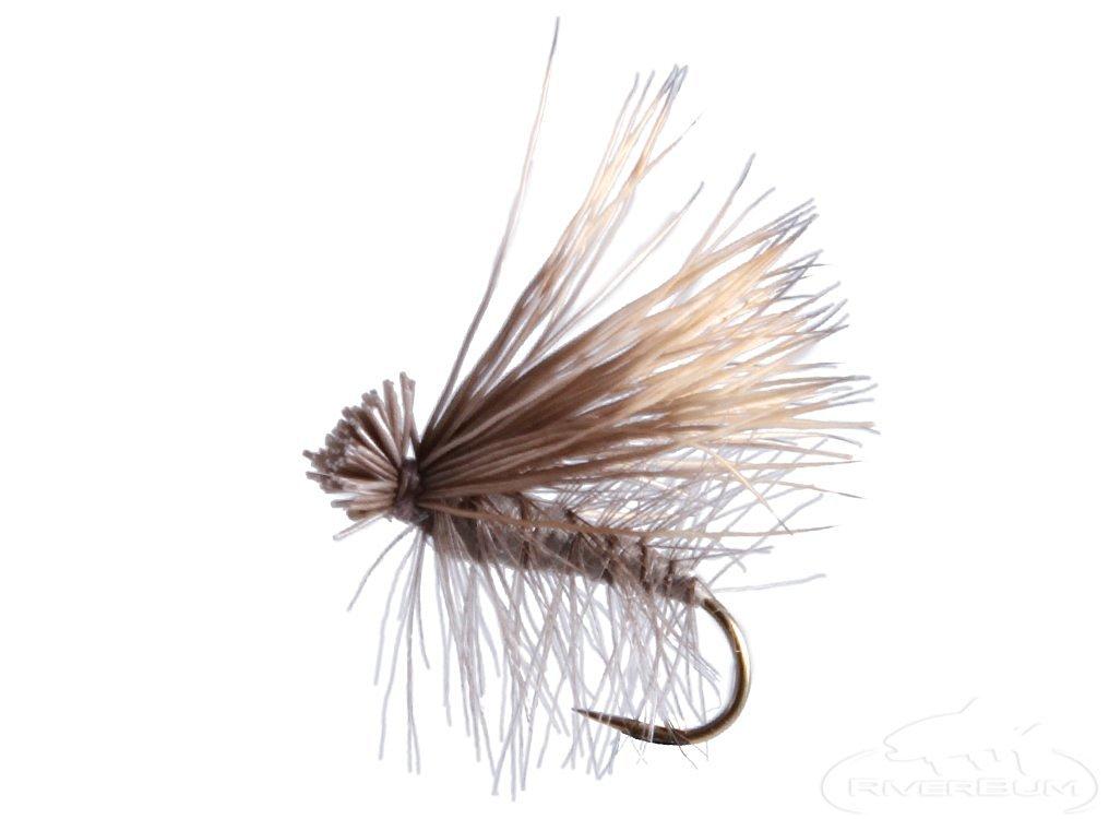 RiverBum Elk Hair Caddis, Grey Fishing Fly Elk Hair Caddis, Grey, Pack of 3