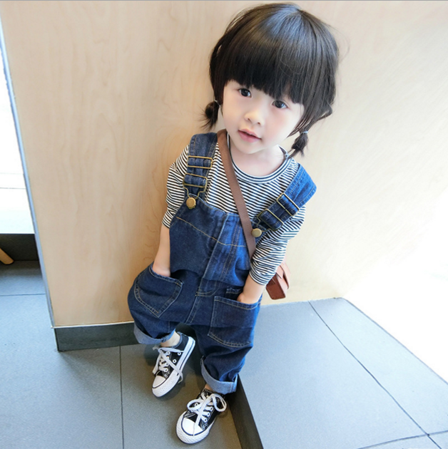 Children fashion trousers zipper denim jeans pants overalls