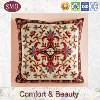 cotton cushion cover/pillow cover embroidery design/embroidery bed cover designs