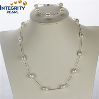 8mm white AAA best quality sterling silver natural rice pearl set, latest pearl set designs