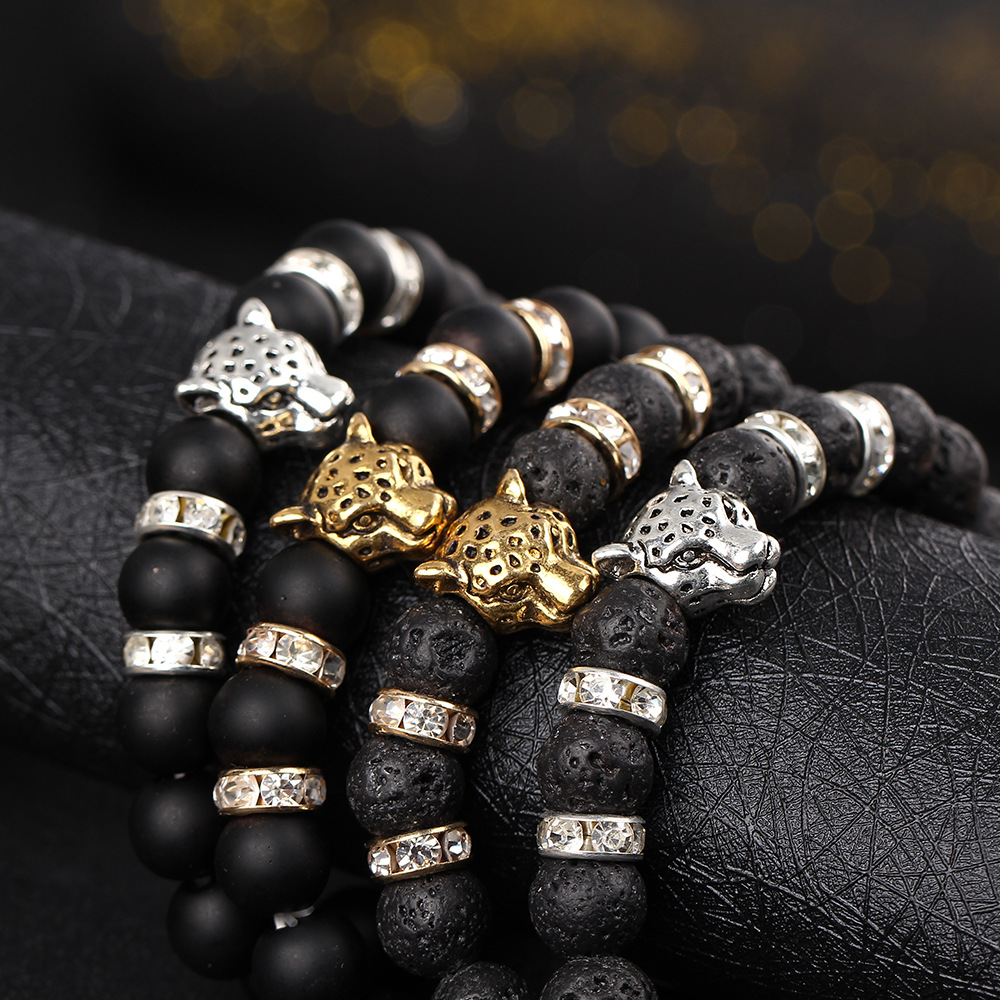2017 Men's Fashion Animal Charm Beads Bracelet Leopard Head Black Lava Stone Onyx Natural Stone Bracelets mens accessories