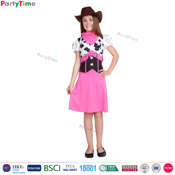 Western Country Popular Pink Cowgirl Costume Kids Fashion Dresses