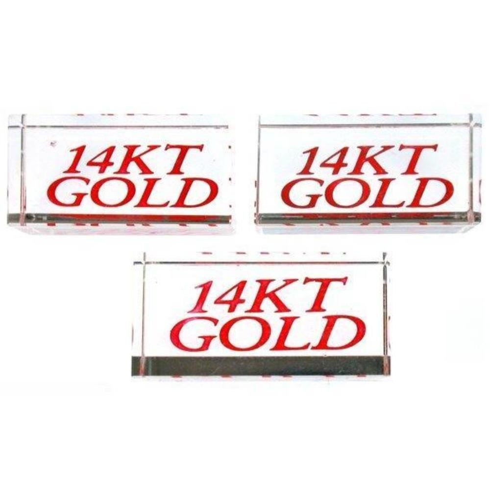 3 Display Signs 14KT Gold Showcase Jewelry Countertop