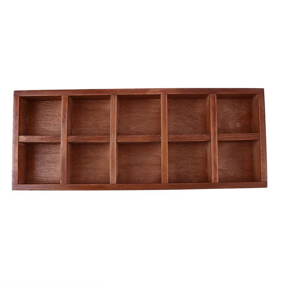 Wooden Storage Holder,WinnerEco 10 Grid Wood Succulent Flower Pot Office Desktop Storage Box Drawer Organizer Tray