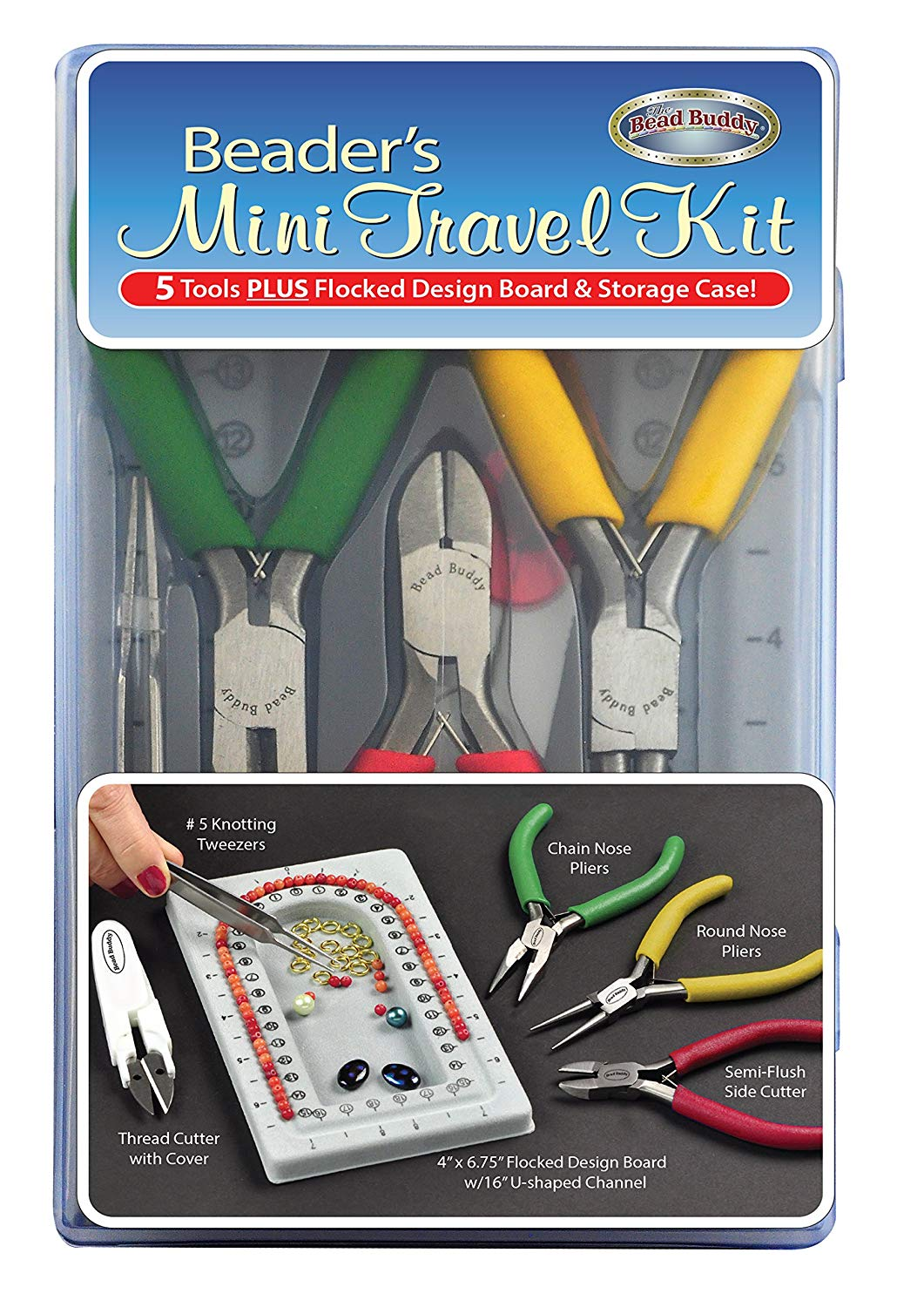Bead Buddy Beader's Mini Travel Kit-Bead Storage Case-5 Essential Beading Tools-Create Beading Projects Anywhere-Compact and Easy to Carry