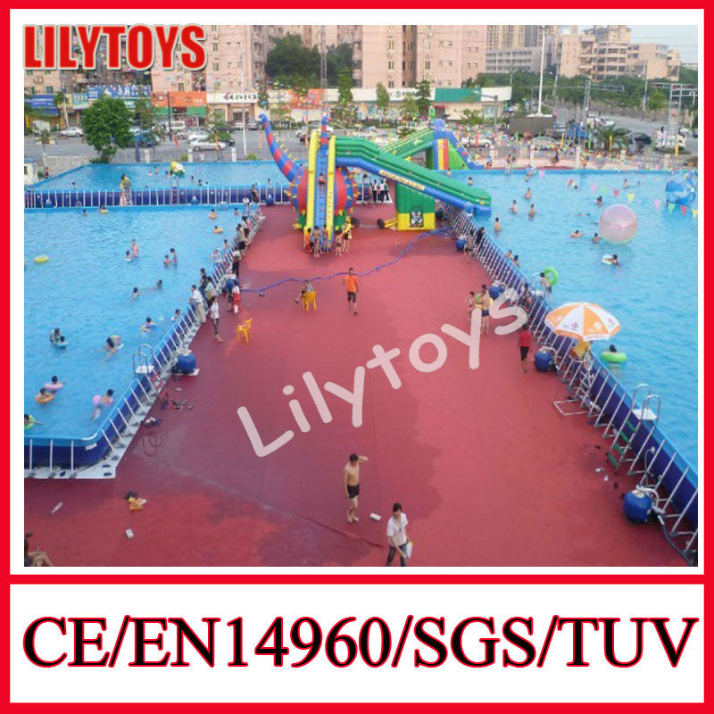 Summer swimming rectangular PVC outdoor above ground metal frame pools