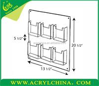 6 Pocket Wall Mount Acrylic Holder,China acrylic manufacturer