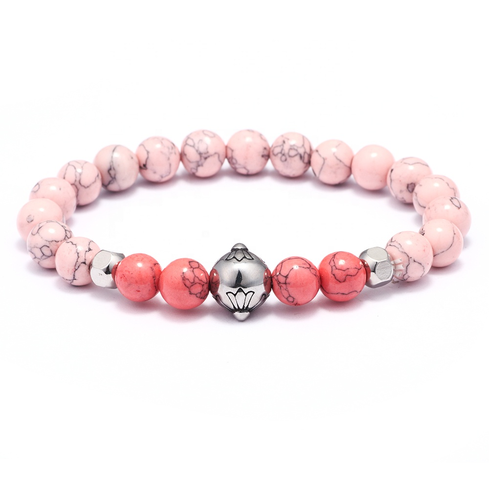 Fashion Alloy Flower Charm Pink Turquoise Natural Stone Beaded Women Bracelet